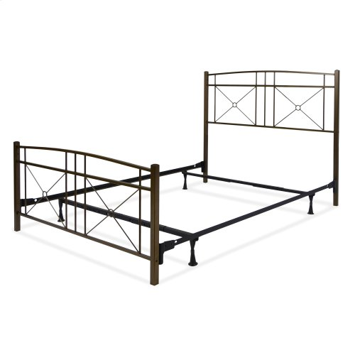 Russett Complete Metal Bed and Steel Support Frame with Modest Sloping Top Rails, Liquid Bronze Finish, Queen