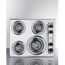 """24"""" Wide 220v Electric Cooktop In Chrome With 4 Coil Elements Product Image"""