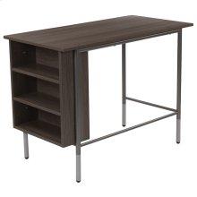 Light Applewood Finish Computer Desk with Side Storage Shelves