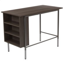 Light Applewood Finish Computer Desk with Side Storage Shelves