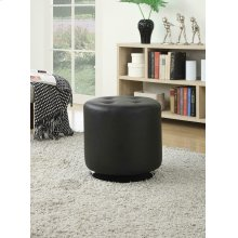 Contemporary Black Round Ottoman