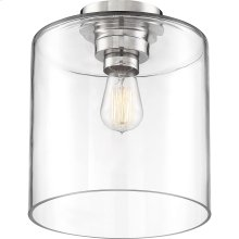 Chantecleer - 1 Light Semi-Flush Fixture; Polished Nickel Finish with Clear Glass