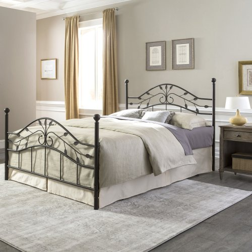 Sycamore Complete Bed with Arched Metal Duo Panels and Leaf Pattern Design, Hammered Copper Finish, Twin