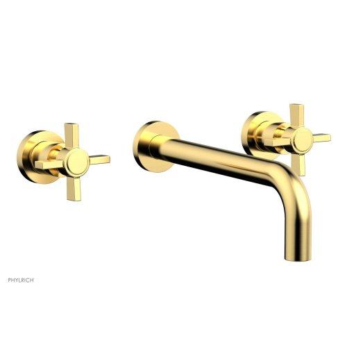 "Basic Wall Tub Set 10"" Spout - Blade Cross Handles D1137-10 - Satin Gold"