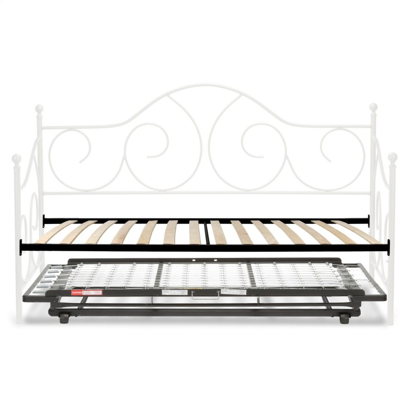 Caroline Complete Metal Daybed With Euro Top Deck And Trundle Bed Pop Up Frame