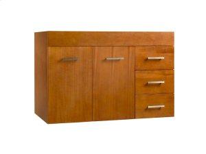 "Bella 36"" Wall Mount Bathroom Vanity Base Cabinet in Cinnamon - Doors on Left Product Image"