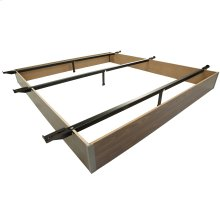 "Pedestal K20 Bed Base with 10"" Walnut Laminate Wood Frame and Center Cross Slat Support, King"