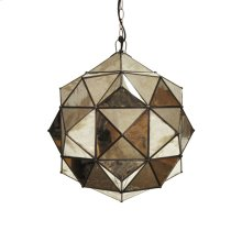 Round Antique Mirror Faceted Pendant Uses Single 60w Bulb
