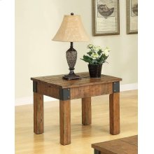 Country Distressed Rustic Brown End Table