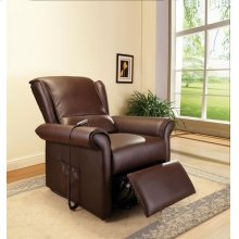 D-BROWN PU RECLINER W/LIFT @N