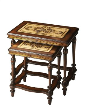 The tabletops feature etchings of art nouveau-inspired botanic designs framed in mahogany. The etched-brass apron combines with meticulously turned legs and carved stretchers, also in mahogany, to complete this picture of consummate artistry and craftsman