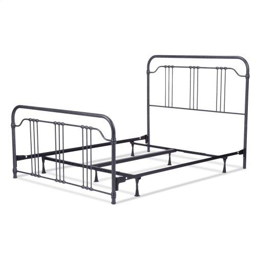 Wellesly Complete Bed with Metal Spindled Grills and Rounded Corners, Marbled Navy Finish, Queen