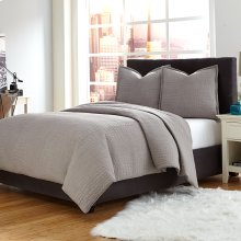 3 pc Queen Coverlet/Duvet Set Gray