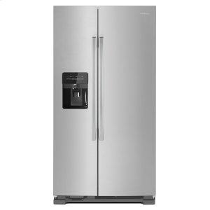 Amana36-inch Side-by-Side Refrigerator with Dual Pad External Ice and Water Dispenser Black-on-Stainless