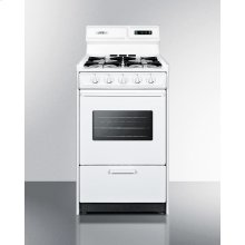 "Deluxe Gas Range In Slim 20"" Width With Electronic Ignition, Digital Clock/timer, Oven Window and Light"