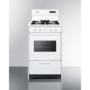 "SummitDeluxe Gas Range In Slim 20"" Width With Electronic Ignition, Digital Clock/timer, Oven Window and Light"
