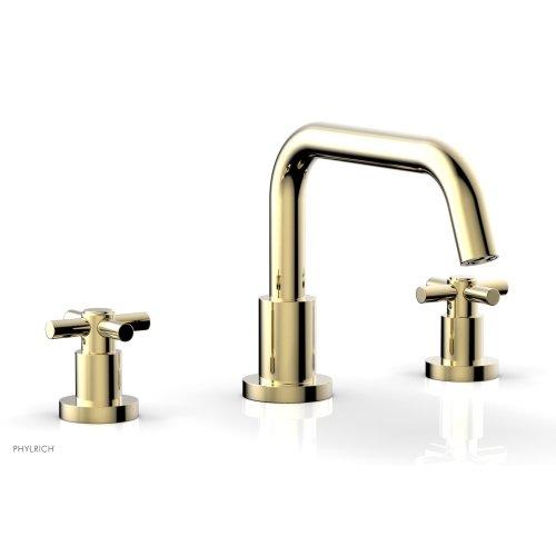 BASIC Deck Tub Set - Tubular Cross Handles D1136D - Polished Brass Uncoated