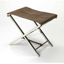 Sit back and relax with this Chocolate brown leather folding stool. Cozy up in comfort in your modern living room, home office or any open concept space. The folding, high polish, stainless steel X frame is sturdy and folds nicely to be tucked away when n