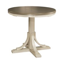 Clarion Round Counter Height Dining Table - Sea White Base With Distressed Gray Top