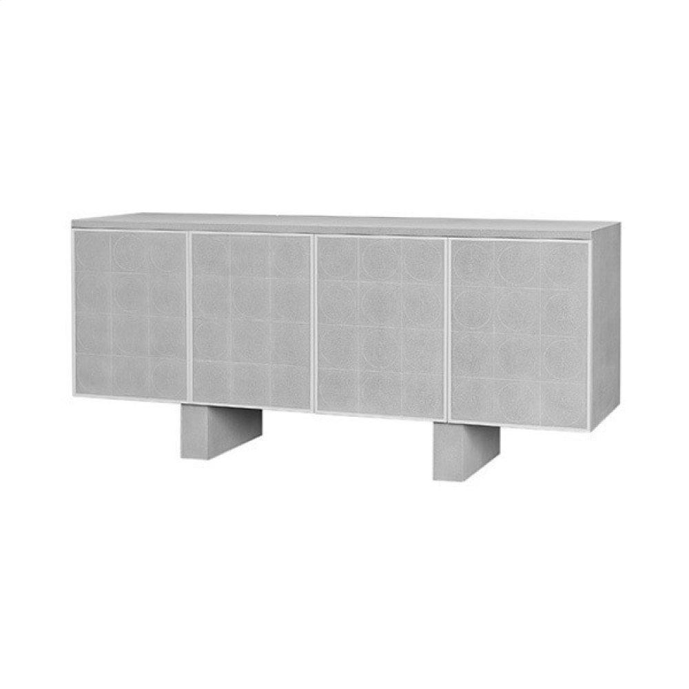 Four Door Cabinet In Faux Light Grey Shagreen