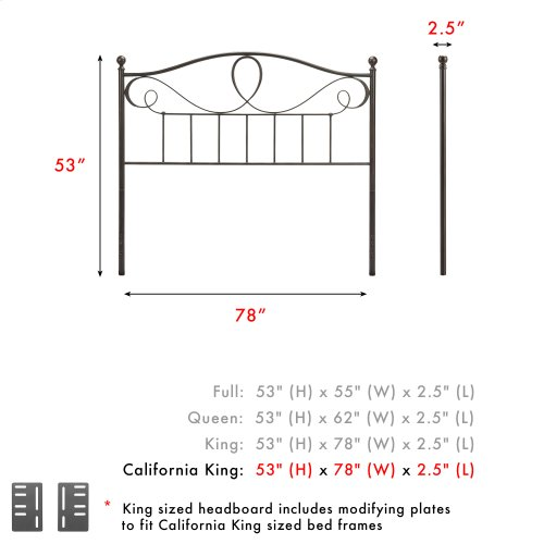 Sylvania Metal Headboard Panel with Elegant Pattern of Curves and Twists, French Roast Finish, California King