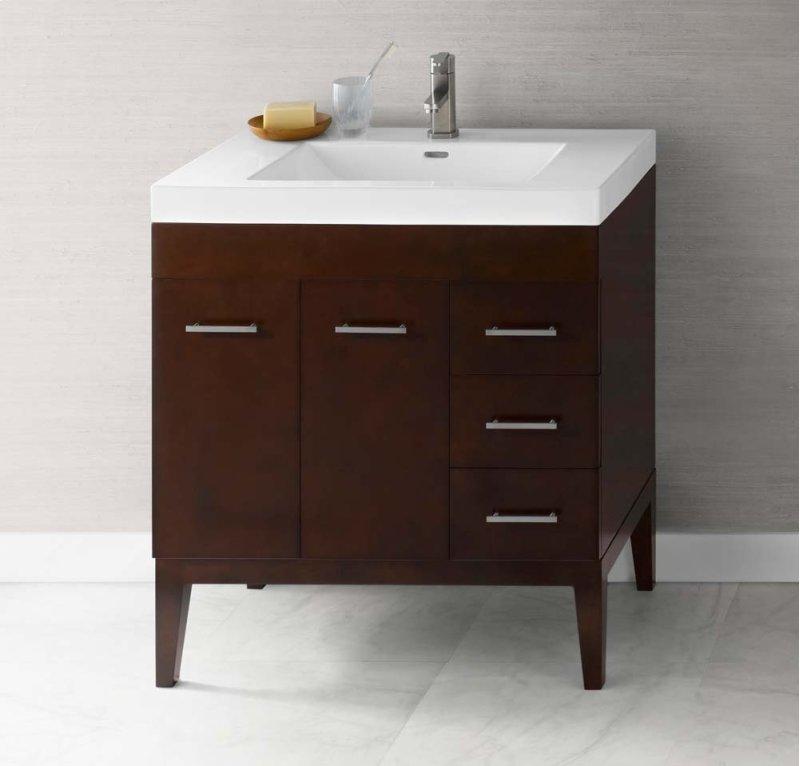 """Venus 31"""" Bathroom Vanity Base Cabinet in Dark Cherry - Doors on Left, Wood"""