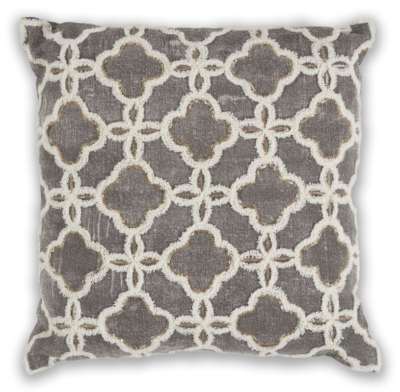 "Pillow L322 Grey Arabesque 18"" X 18"""