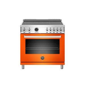 Bertazzoni36 inch Induction Range, 5 Heating Zones, Electric Self-Clean Oven Orange