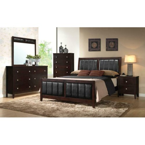Carlton Cappuccino Upholstered King Four-piece Bedroom Set