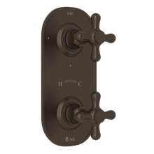"""Tuscan Brass Verona 1/2"""" Thermostatic/Diverter Control Trim with Verona Series Only Cross Handle"""