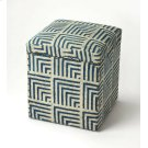 This whimsical storage ottoman is both stylish and practical. Its blue and white cotton print fabric is adorned with brass nailhead trim, and has a hinged lid that opens to reveal a convenient storage compartment. it Hand crafted from mango wood solids, i Product Image