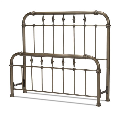 Vienna Bed with Metal Panels and Carved Finials, Aged Gold Finish, Queen