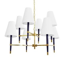 Two Tier Chandelier In Brass and Navy with Eight White Shades