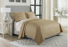 3pc Queen Bed Throw Set Gold