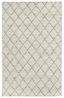 Diamond Looped Wool Ivory 9x12