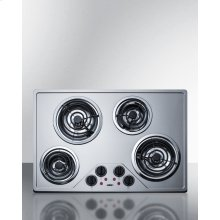 """30"""" Wide 230v Electric Cooktop With Four Coil Elements and Stainless Steel Finish"""