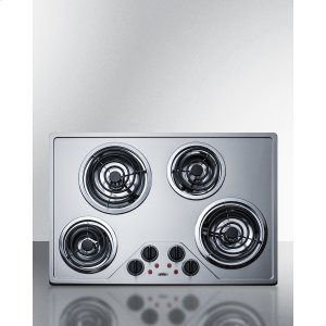 "Summit30"" Wide 230v Electric Cooktop With Four Coil Elements and Stainless Steel Finish"