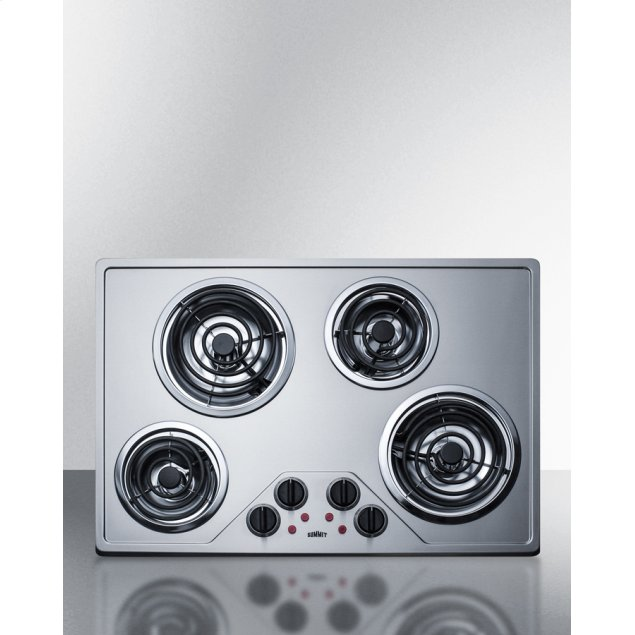 """Summit 30"""" Wide 230v Electric Cooktop With Four Coil Elements and Stainless Steel Finish"""