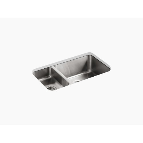 "31-1/2"" X 18"" X 9-3/4"" Under-mount High/low Double-bowl Kitchen Sink"