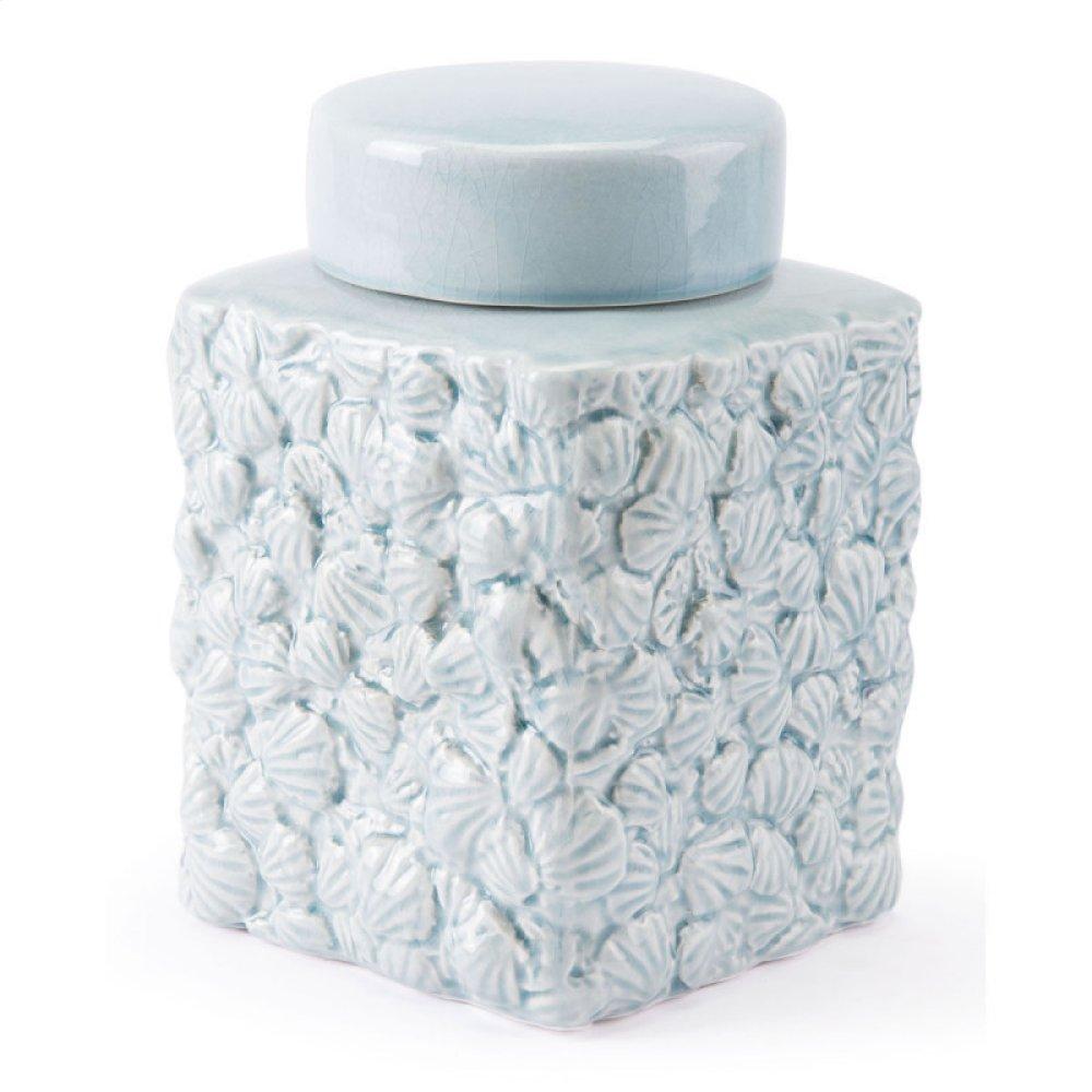 Shells Sm Covered Jar Blue