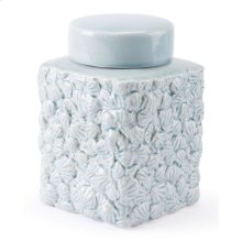 Shells Sm Covered Jar Blue