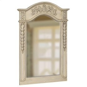 Belle Foret 36 in. x 24 in. Framed Carved Portrait Mirror in Antique Parchment