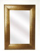Hammered gold frame brings a touch of shimmering appeal to your ensemble, blending an industrial design with contemporary style, this mirror is perfect to bring dimension to your entry, hall or living area. Product Image
