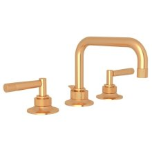 Satin Gold Graceline U-Spout Widespread Lavatory Faucet with Metal Lever Graceline Series Only