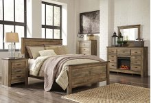 Queen Panel Bedroom Group: Queen Bed, Nightstand, Dresser & Mirror