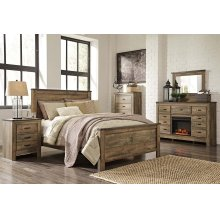 Queen Panel Bedroom Set: Queen Bed, Nightstand, Dresser & Mirror