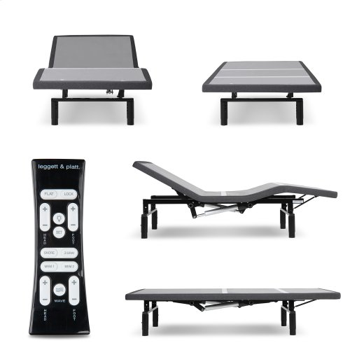Simplicity 3.0 Low-Profile Adjustable Bed Base with Full Body Massage and Simultaneous Movement, Charcoal Gray Finish, Full
