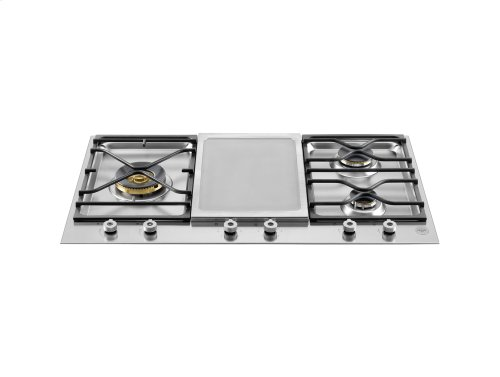 36 Segmented cooktop 3-burner and griddle Stainless