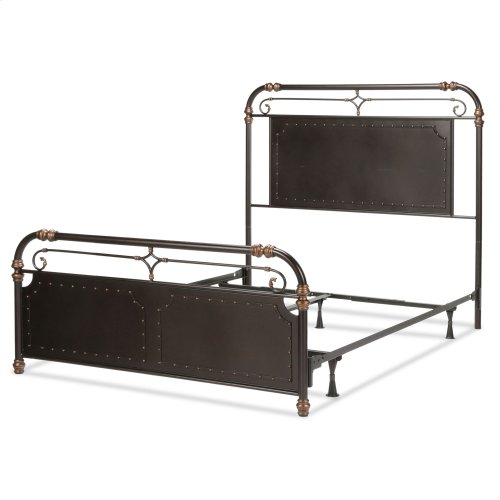 Westchester Complete Metal Bed and Steel Support Frame with Vintage-Inspired Design and Nailhead Detail, Blackened Copper Finish, California King