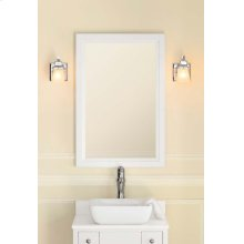"""Transitional 24"""" x 34"""" Solid Wood Framed Bathroom Mirror in White"""